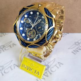 Relógio Invicta Reserve Venom Dourado Com Azul Completo!
