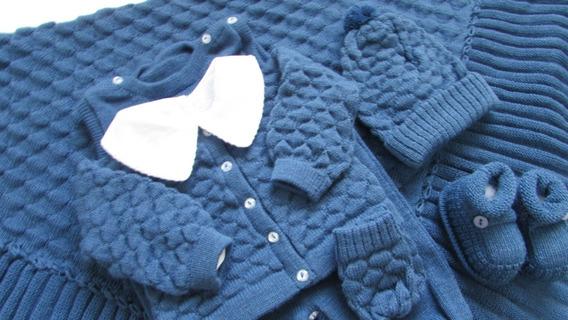 Saida Maternidade Manta Casaco Salopete Rn Azul Jeans