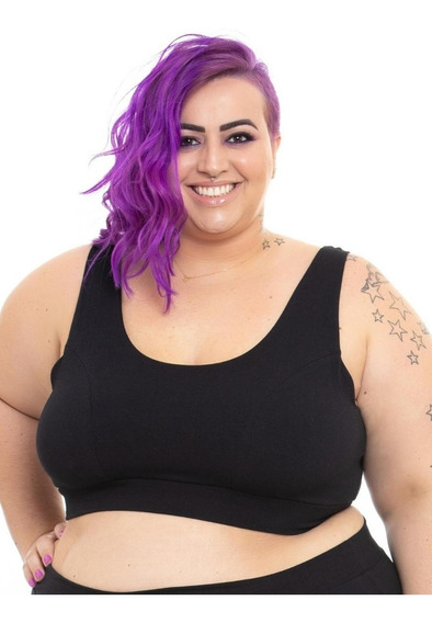 Top Sutiã Plus Size Wonder Size Cotton Preto