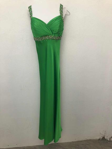 Vestido De Fiesta Verde, Talla: 9, Marca: Cinderella