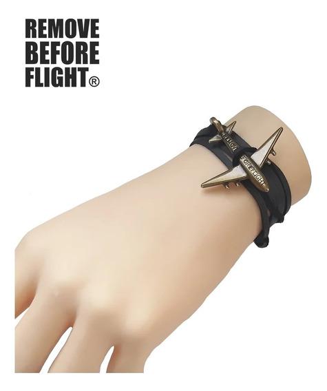 Pulsera Avión Unisex Remove Before Flight ® Negro Dorado