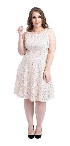 Vestido Dama Corto Encaje Mujer Con Brillos