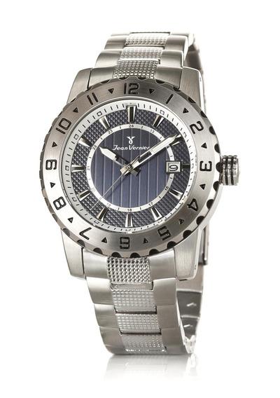 Relógio Jean Vernier Pulseira Couro Caixa Aço Dia A Dia