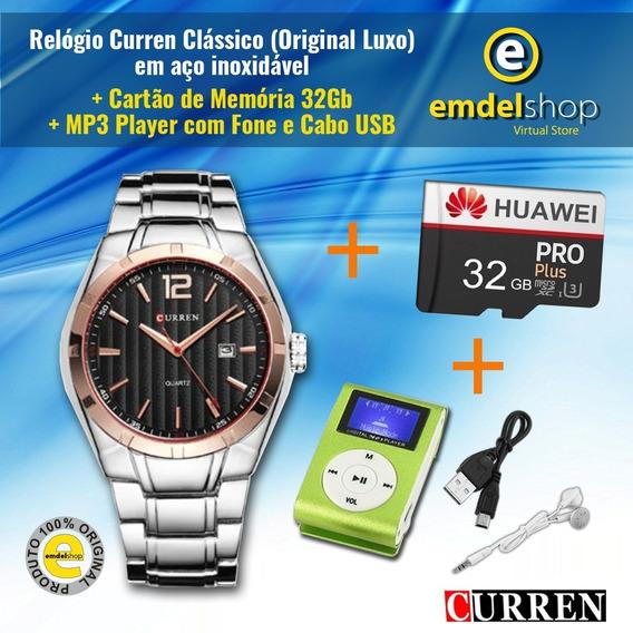 Relógio Curren Masculino + Cartão Huawey - 32gb + Mp3 Player