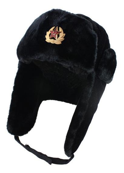 Ushanka Estilo Aviador Com Emblema Soviético. Pronta Entrega