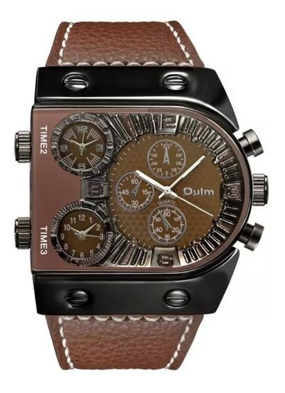 Relógio Masculino Luxo Moderno Original Oulm Quartz Marrom Frete Grátis