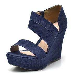 f1f6c0db0 Sandalia Anabela Florida Feminino - Sapatos Azul marinho no Mercado ...