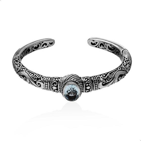 Pulseira Bracelete Topazio Azul Natural Prata 925 - 41901388