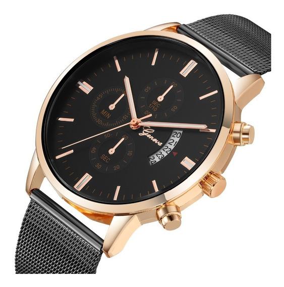 Relógio Geneva Novo Modelo 2019 Moderno Calendário Aço Inox
