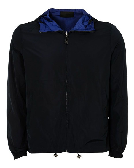 Jaqueta Prada Reversible Nylon Zip Navy Black