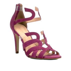 Sandália Couro Shoestock Salto Fino Ondas Vinil Feminina