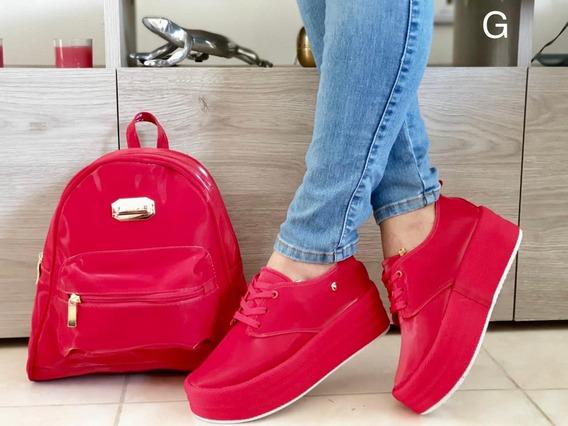 Combo Juvenil Bolso Morral Rojo Y Azulmas Calzado