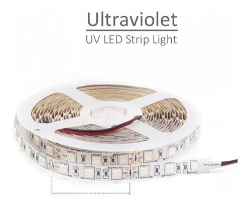 Cinta Led 5050 Ultravioleta 12v 5m 300 Led Rollo Uv Negra