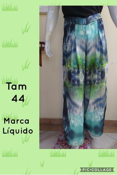Calça Verde Pantacourt Pantalona Liquido G42