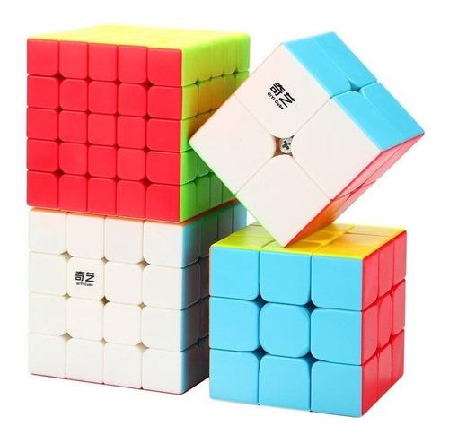 Kit De Cubo Mágico Qiyi: 2x2 + 3x3 + 4x4 + 5x5 + Brinde