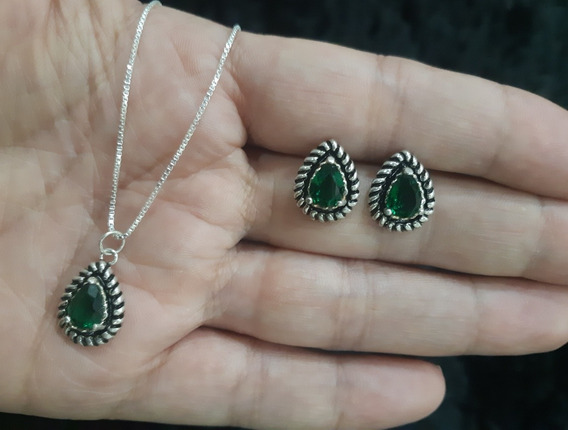 Conj Colar E Brinco Prata 925 Verde Esmeralda