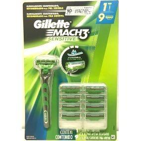 Kit Carga Gillette Mach3 Sensitive 9 Cartuchos + Barbeador