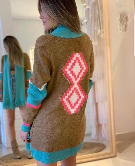 Kimono Cardigan Étnico Moda Outono Inverno 2019 Cod 234