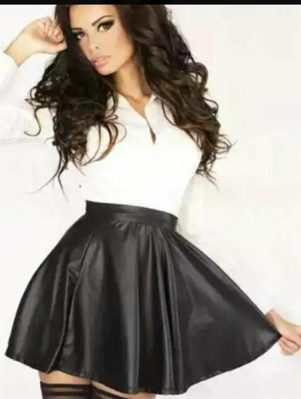 Falda Cuero Sintetico Tipo Plato Faldas Cuero Modernas Mujer