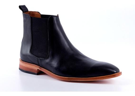 Botas De Cuero Color Negro Para Hombre - Giardini