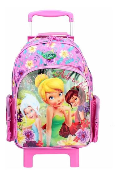 Mochila Carrinho Escolar Disney Fadas Adorable G Dermiwill