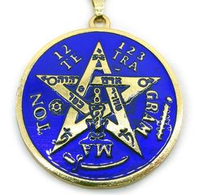 Colar Tetragramaton Pentagrama Esotérico Dourado 4 Cm