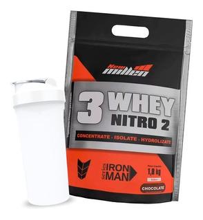 Whey Protein 3w Nitro New Millen 1,8kg + Coqueteleira