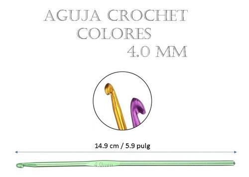 Aguja De Tejido Crochet Amigurumi Metálica Colores 4.0 Mm