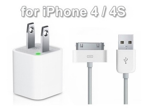 Cargador Pared + Cable Usb Blanco iPhone 4 Cel 4s Tabletas