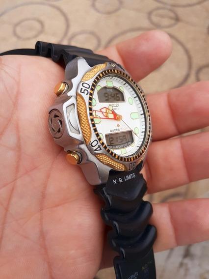 Relógio Citzen Aqualand C500 Série Ouro Fundo Branco Raro