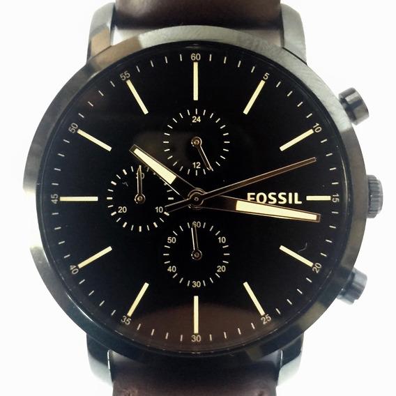 Relógio Fossil Preto Couro Bq2461 Analógico Original Usa