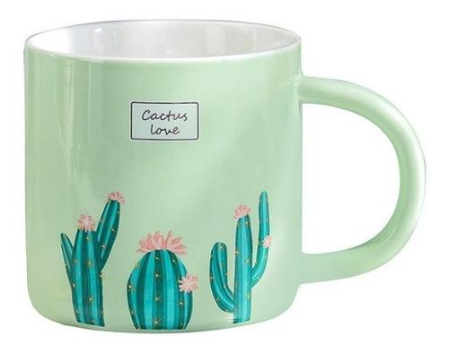 Imagen 1 de 6 de Taza Con Cuchara Cactus Love Cafe Tarro Ceramica