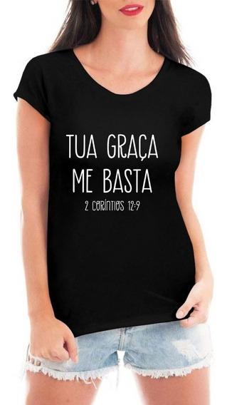 Camiseta Tua Graça Blusa Feminina Camisa Evangélica Gospel
