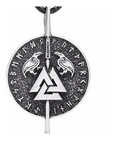 Colar Nórdico Odins Corvos Com Valknut Asatru Odins Ravens