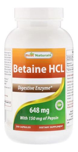 Betaíne Hcl 648 Mg Best Naturals 250 Cápsulas-pronta Entrega