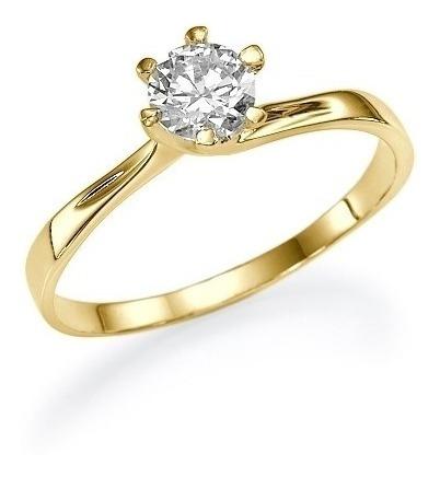 Anel Solitário Ouro 18k Aparador Meia Aliança Joia Diamante