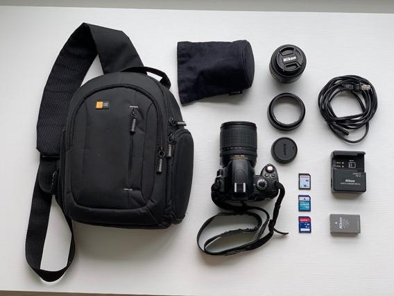 Camera Nikon D40x + Lente 18-135mm + Lente 50mm + Tripé