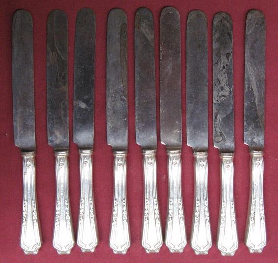 8 Cuchillos U.s.a. De Alpaca Y Acero Al Carbono Antiguos.-