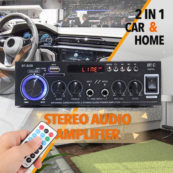 Mini Amplificador De Potência Áudio Mp3 Player Fm Rádio Bt