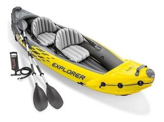 Caiaque Inflável Explorer K2 160 Kg Remos Bomba Intex Canoa