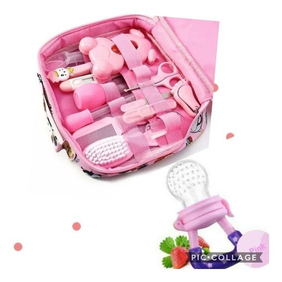 Kit Higiene Cuidados Do Bebe Rosa Brinde Chupeta Alimentação