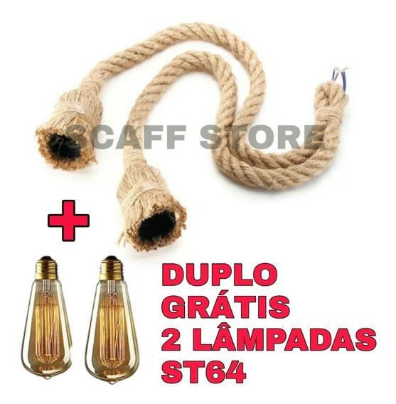 Pendente Duplo Corda + 2 Lâmpadas St64
