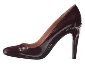 Zapatos Tacones Calvin Klein Color Burdeo Patente Talla 36.5