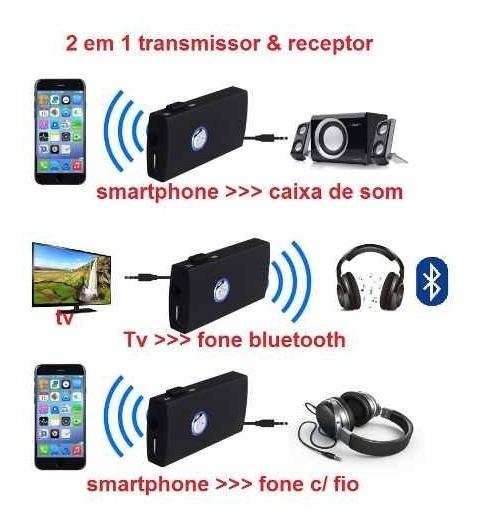 2 Em 1 Transmissor + Receptor Bluetooth P2 3.5mm Com Bateria