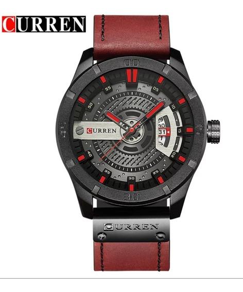 Relógio Esportivo Masculino Curren Pulseira De Couro Vermelh