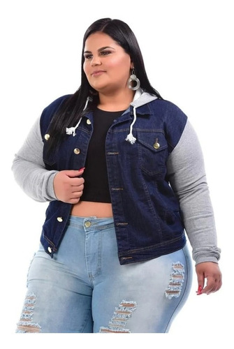 Imagem 1 de 4 de Jaqueta Jeans Com Moletom Plus Size Feminina Com Capuz Blusa