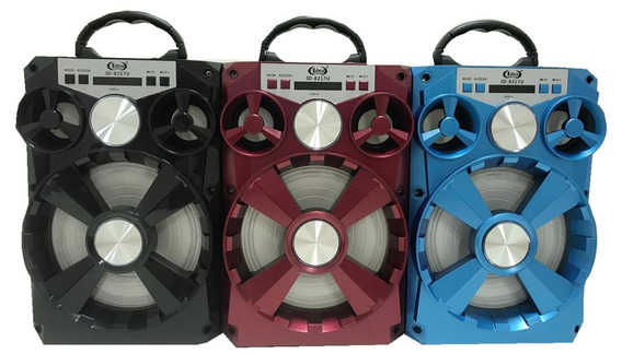 Caixa De Som Bluetooth Mp3 Usb Rádio Fm Com Led 20 Watts