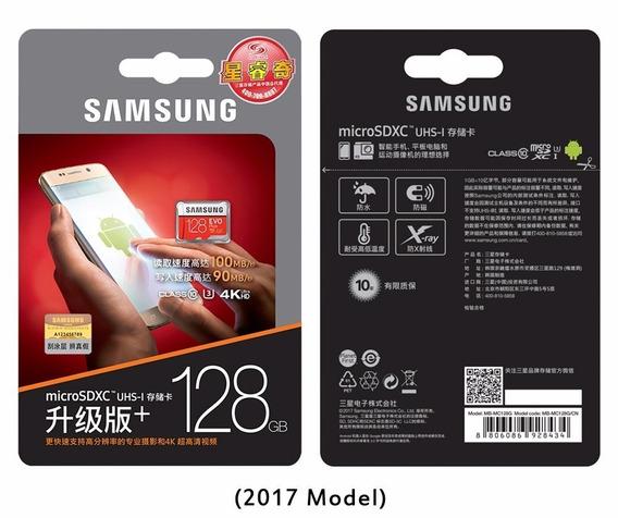 Cartão Samsung Micro Sd Sdxc Evo Plus 128gb 100mb/s Uhs-3 U3 Galaxy S7 J7 S8 S9 S10 Motorola Motor G Lg Gopro Hero Drone