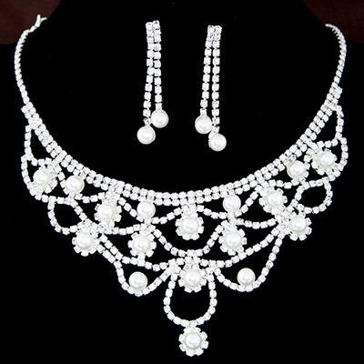 Hermoso Collar Cristales Plateados Con Perlas Novia Fiesta