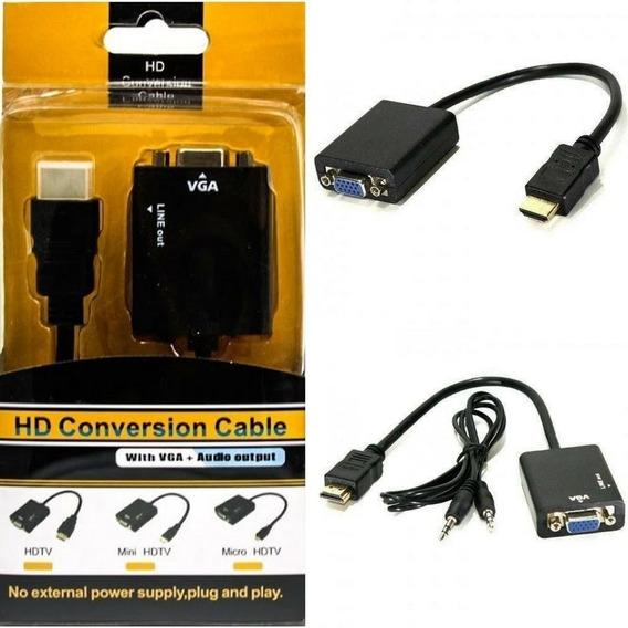 Cabo Adaptador E Conversor Hdmi Para Vga P2 Pc Tv